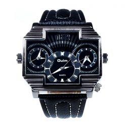 Oulm 3 Time Zones Cross Shape Men's Quartz Watch - White