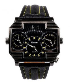 Oulm 3 Time Zones Cross Shape Men's Quartz Watch - Yellow