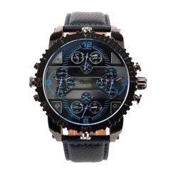 Oulm 4 Time Zones Round Dial Quartz Watch - Blue
