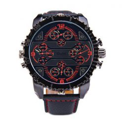 Oulm 4 Time Zones Round Dial Quartz Watch - Red