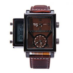 Oulm Digital Day Alarm Wrist Watch - Brown