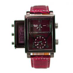 Oulm Digital Day Alarm Wrist Watch - Red