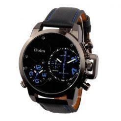 Oulm Dual Time Movements Quartz Wrist Watch - Blue