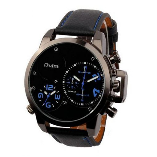 Oulm Dual Time Movements Quartz Wrist Watch - Blue