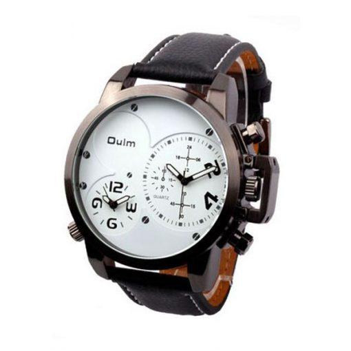 Oulm Dual Time Movements Quartz Wrist Watch - White