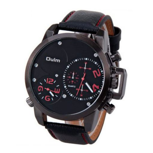 Oulm Dual Time Movements Quartz Wrist Watch - Red