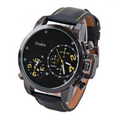 Oulm Dual Time Movements Quartz Wrist Watch - Yellow