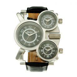 Oulm Three Time Display Quartz Military Army Sport Wrist Watch - Black