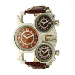 Oulm Three Time Display Quartz Military Army Sport Wrist Watch - Brown