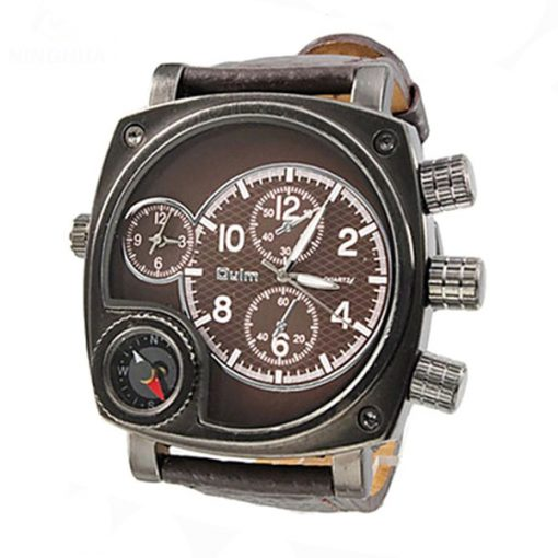 Oulm Watch With Large Dial and Compass - Brown