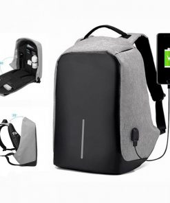 Oxford Travel Laptop Backpack With USB Output Socket For Powerbank - Gray