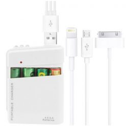 4 Piece AA Battery Portable Powerbank Converter Case - White