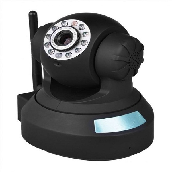Phone APP Controlled Indoor P2P H 264 SD IP Camera With Pan Tilt And Zoom  and SD Card Support - Black
