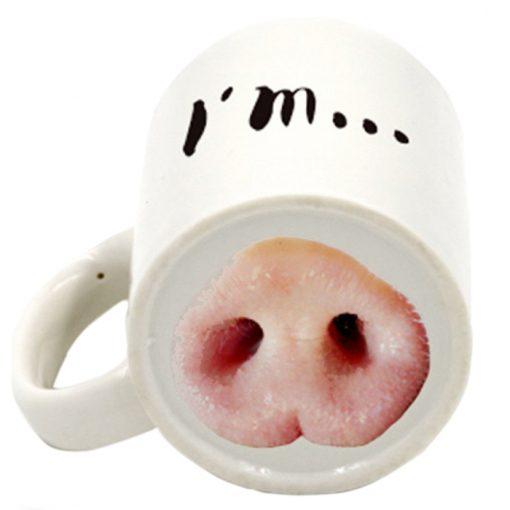 Piggy Style Nose Mug - White
