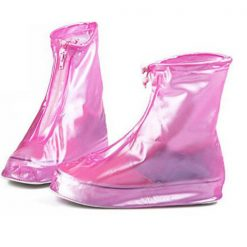 Plastic Zip Up Shoe Cover For Women - Pink
