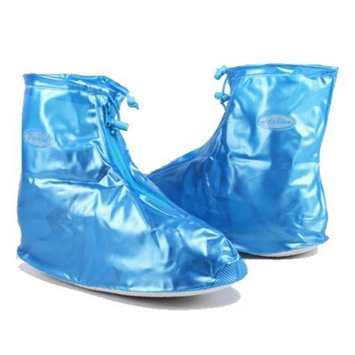 Plastic Zip Up Water Proof Rain Boots Shoe - Blue