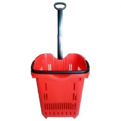Plastic Trolley Basket With Handle And Wheels - Red