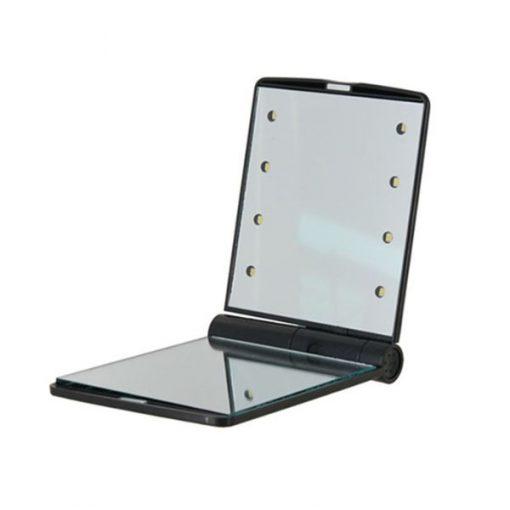 Pocket Makeup Mirror With LED Light - Black