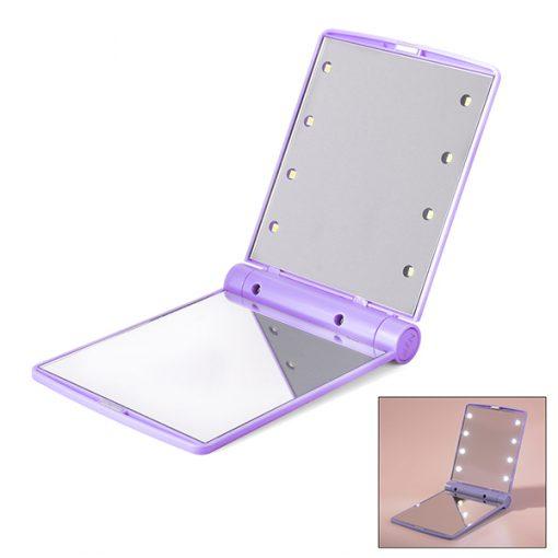 Pocket Makeup Mirror With LED Light - Purple