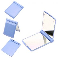 Pocket Makeup Mirror With LED Light - Blue