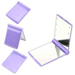 Pocket Makeup Mirror With LED Light - Purple