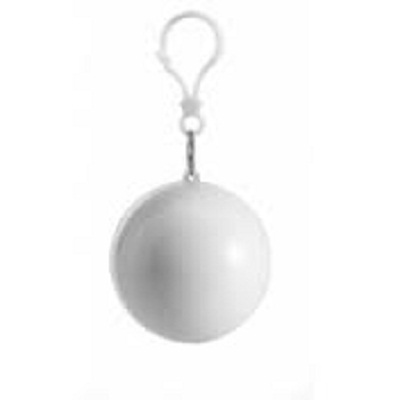 Keychain Ball with Disposable Raincoat - White