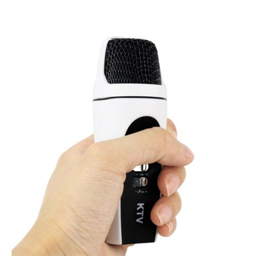 Portable Mini 3.5mm KTV Microphone Karaoke Player - White
