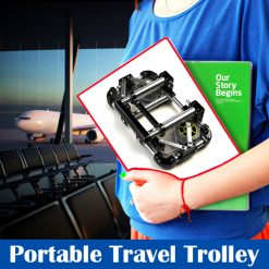 Foldable Portable Stainless Steel Travel Trolley - Black