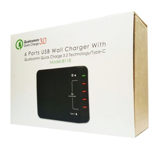 6 Ports Quick Charge 3.0 USB And Type-C Wall Charger  - Black