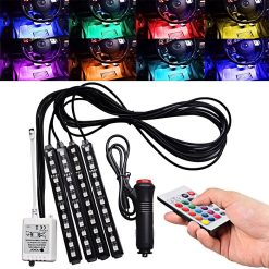 LED Car Interior Light Auto Atmosphere Lighting Kit with Wireless Remote Control - White