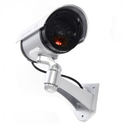 Realistic Looking Outdoor Dummy IR Security Camera with Flashing Red Light - Silver