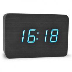 Digital Rectangular Wooden Alarm Clock Blue Led Light - Black