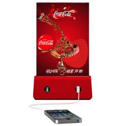 Restaurant Menu Holder With 4 USB  Charging Port And Built In 6000 mAh Powerbank - Red