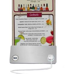 Restaurant Menu Holder With 4 USB  Charging Port And Built In 6000 mAh Powerbank - Silver