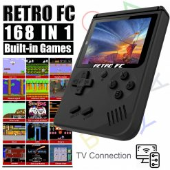 Retro FC Game Console Built-in 168 Classic Games - Black