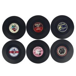 Rockabilly 6 Piece Vinyl Coaster - Black