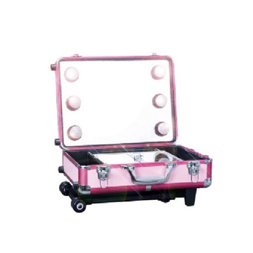 Lighted Rolling Studio Makeup Artist Cosmetic Case With 6x 40W Light Bulb - Pink
