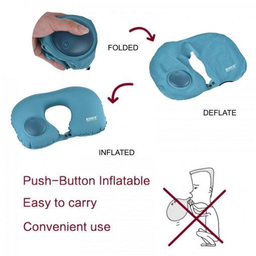 Romix Hand Inflatable Travel Neck Pillow  - Blue