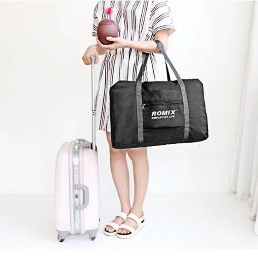 ROMIX RH43 Foldable Water Resistant Nylon Travel Luggage Bag - Black