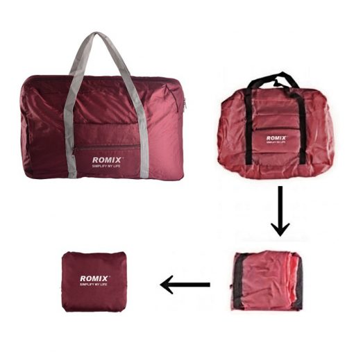 ROMIX RH43 Foldable Water Resistant Nylon Travel Luggage Bag - Red