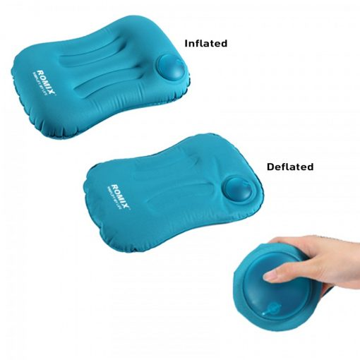 Romix Hand Inflatable And Foldable Travel Pillow - Blue