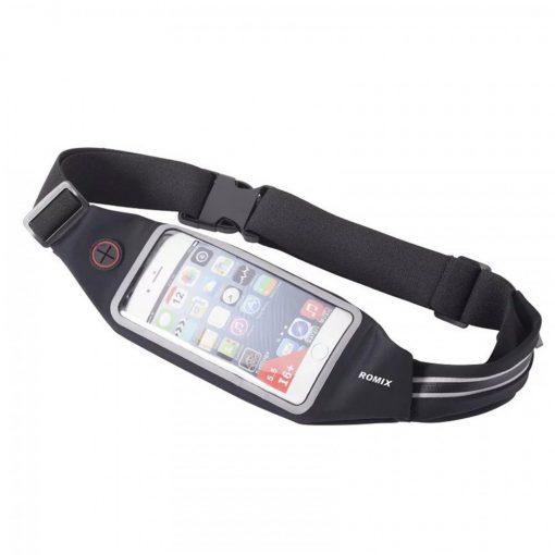 """Romix 4.7"""" Outdoor Touch Screen Sport Running Waterproof Purse Waist Bag - Black"""
