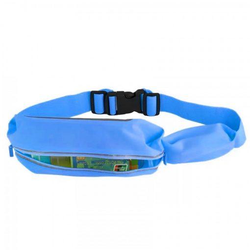 """Romix 4.7"""" Outdoor Touch Screen Sport Running Waterproof Purse Waist Bag - Blue"""
