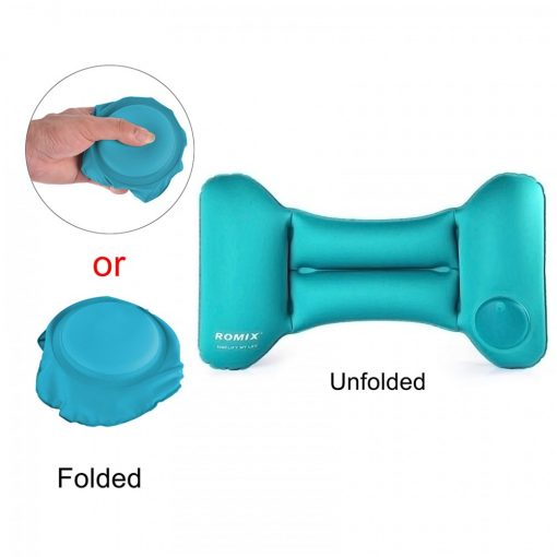 Romix Hand Inflatable And Foldable Travel Back Cushion Pillow  - Blue