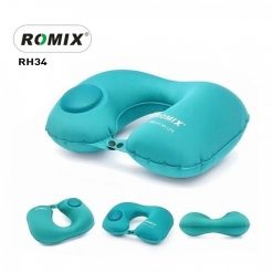 Romix Hand Inflatable Travel Neck Pillow  - Blue