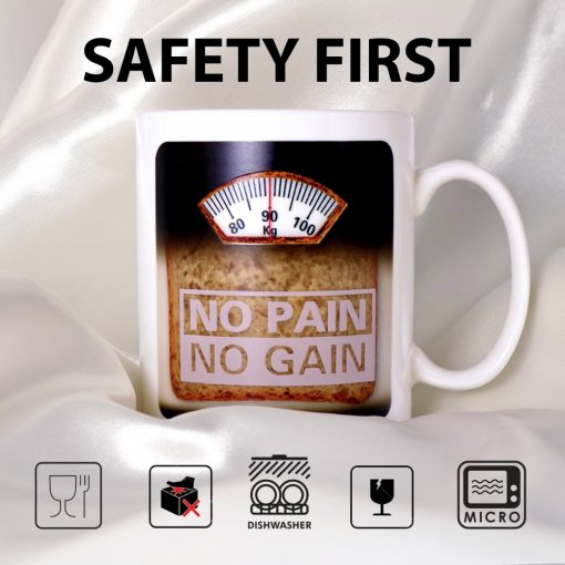 NO PAIN NO GAIN Heat Sensitive Color Changing Mug - White