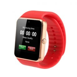 Bluetooth Smart Watch With SIM Card Slot - Red/Gold