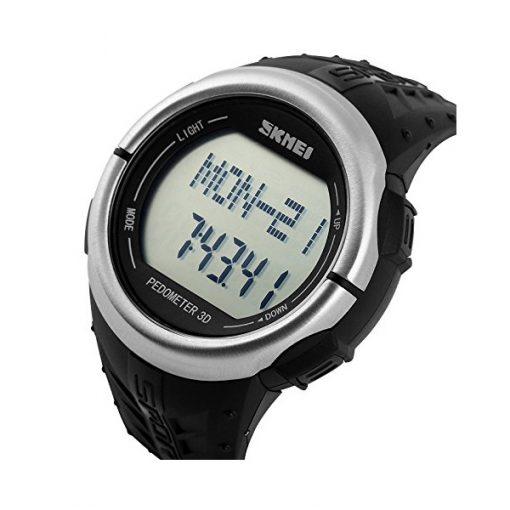 30M Waterproof Pedometer Heart Rate Pulse Watch - Black