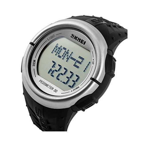 30M Waterproof Pedometer Heart Rate Pulse Watch - Silver