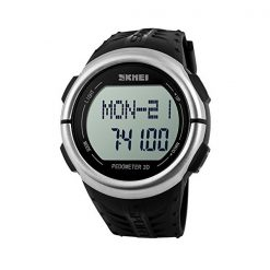 30M Waterproof Pedometer Heart Rate Pulse Watch - Black
